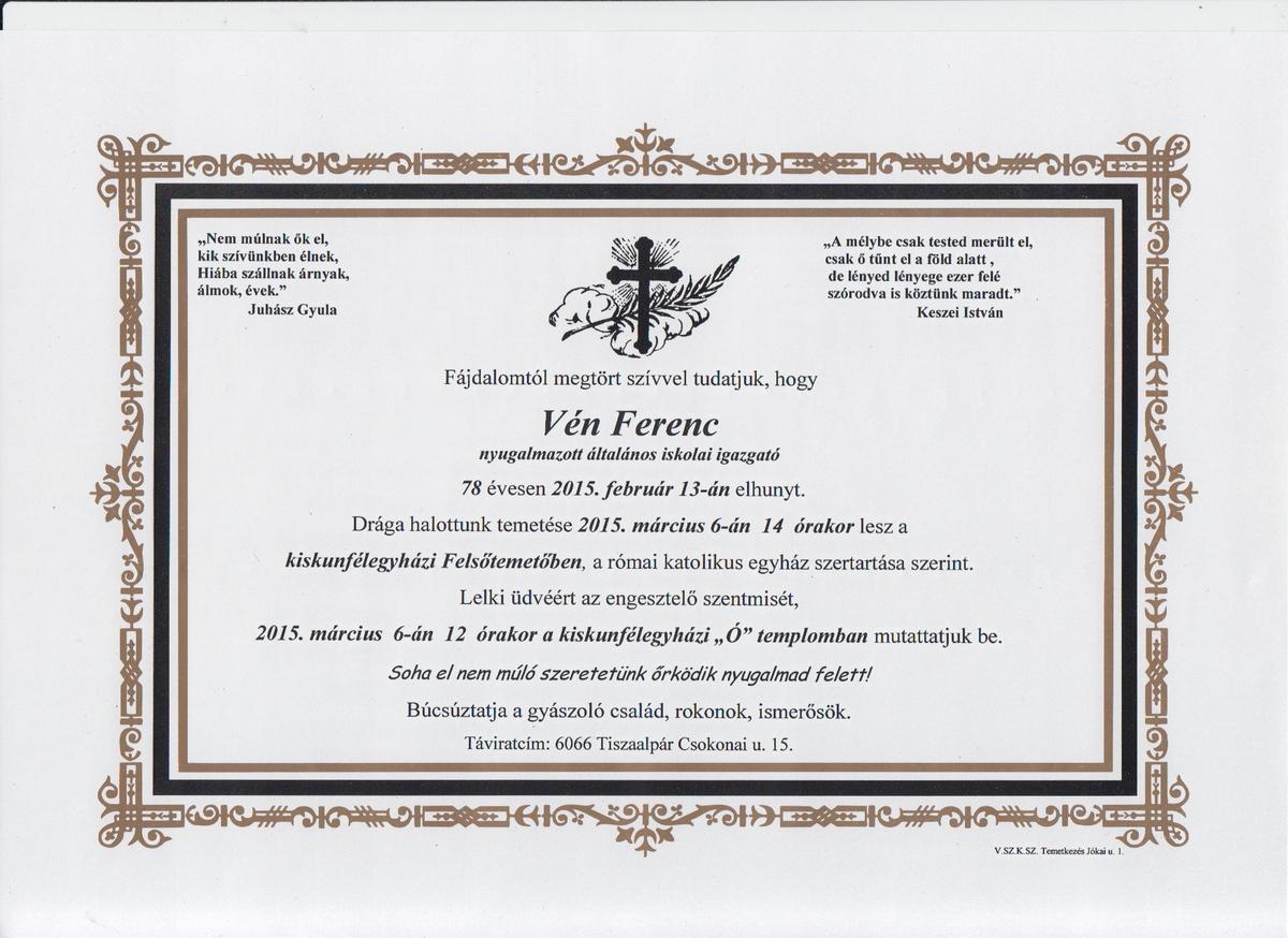 Vén Ferenc gyászlapja