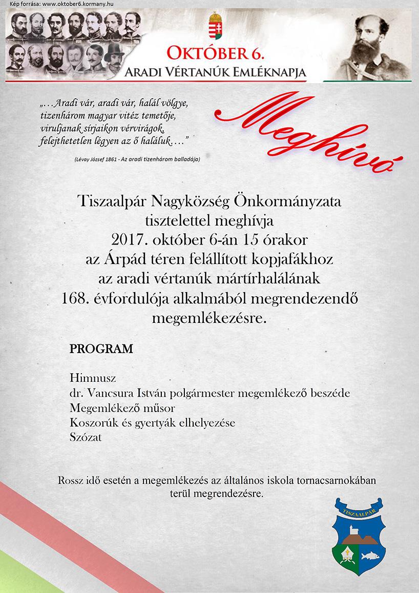 Meghívó az október 6-i ünnepségre